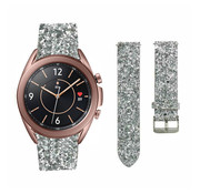 Strap-it® Samsung Galaxy Watch 3 41mm leren glitter bandje (zilver)