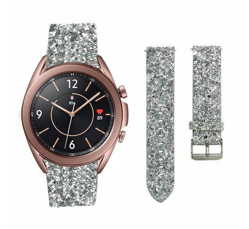 Strap-it® Strap-it® Samsung Galaxy Watch 3 41mm leren glitter bandje (zilver)