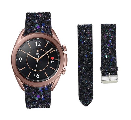 Strap-it® Strap-it® Samsung Galaxy Watch 3 41mm leren glitter bandje (zwart)