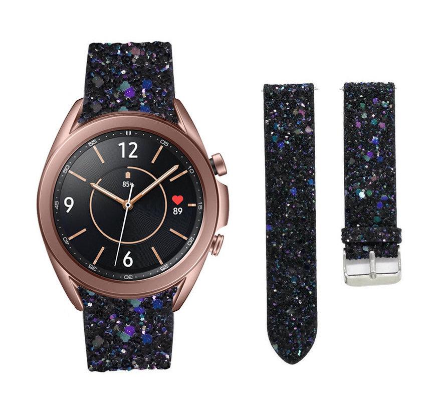 Strap-it® Samsung Galaxy Watch 3 41mm leren glitter bandje (zwart)