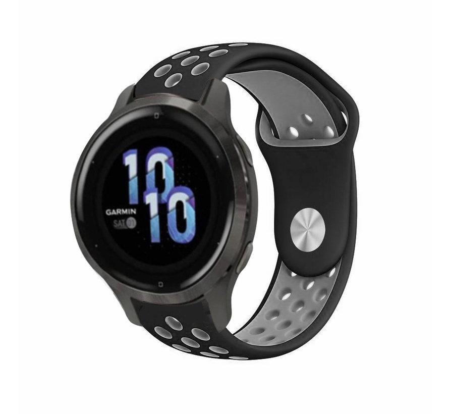 Strap-it® Garmin Venu 2s sport bandje - 40mm - zwart/grijs