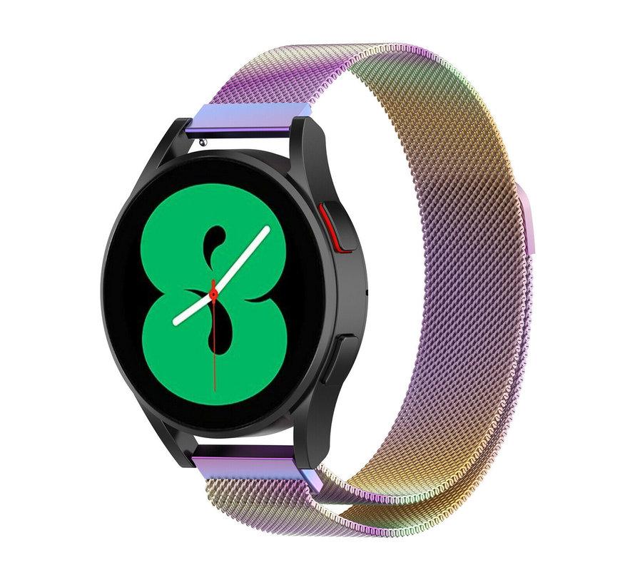 Strap-it® Samsung Galaxy Watch 4 - 44mm Milanese band (regenboog)