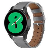 Strap-it® Samsung Galaxy Watch 4 - 40mm leren bandje (grijs)
