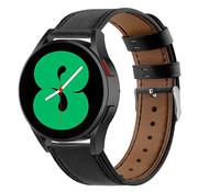 Strap-it® Samsung Galaxy Watch 4 - 44mm leren bandje (strak-zwart)