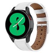 Strap-it® Samsung Galaxy Watch 4 - 44mm leren bandje (wit)
