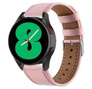 Strap-it® Samsung Galaxy Watch 4 - 44mm leren bandje (roze)