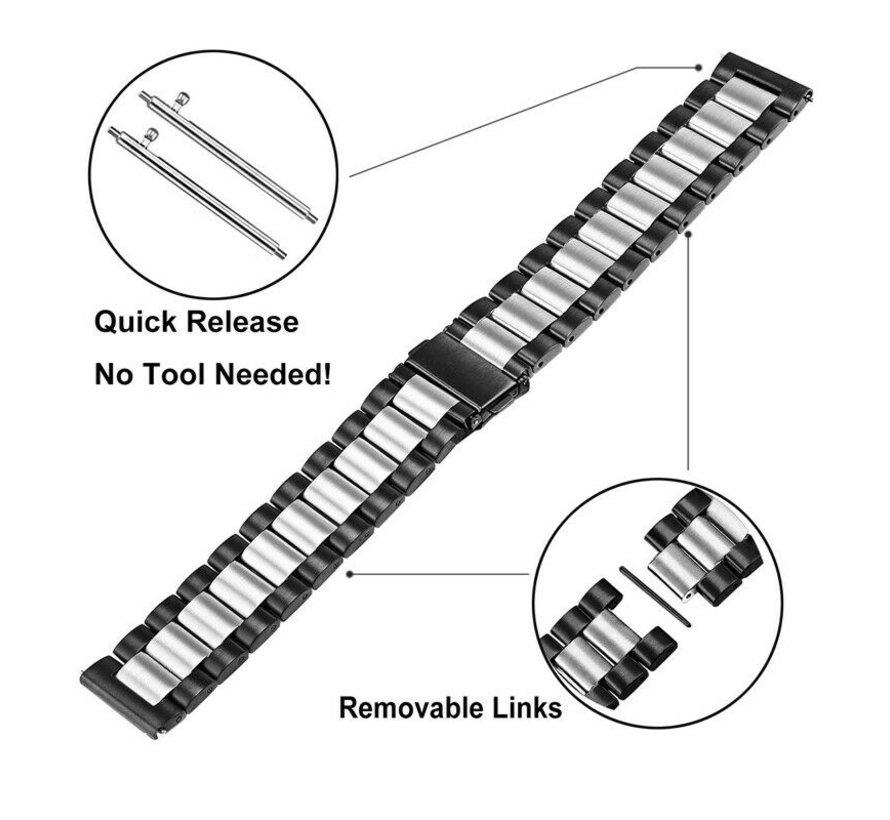 Strap-it® Samsung Galaxy Watch 4 - 44mm stalen band (zwart/zilver)