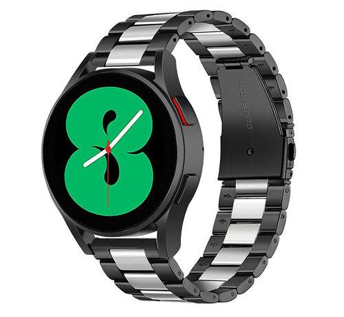 Strap-it® Strap-it® Samsung Galaxy Watch 4 - 44mm stalen band (zwart/zilver)