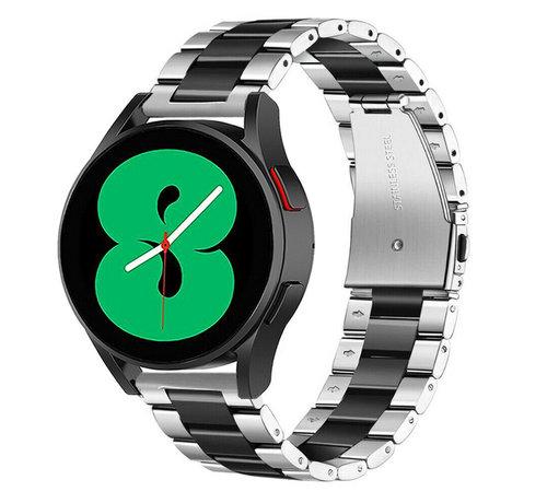 Strap-it® Strap-it® Samsung Galaxy Watch 4 - 44mm stalen band (zilver/zwart)