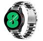 Strap-it® Samsung Galaxy Watch 4 - 44mm stalen band (zilver/zwart)