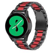 Strap-it® Samsung Galaxy Watch 4 - 44mm stalen band (zwart/rood)
