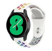 Strap-it® Samsung Galaxy Watch 4 - 40mm sport band (wit/kleurrijk)