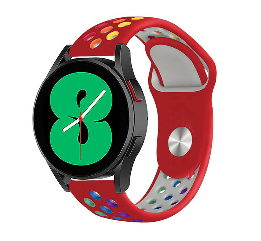 Strap-it® Samsung Galaxy Watch 4 - 40mm sport band (rood/kleurrijk)