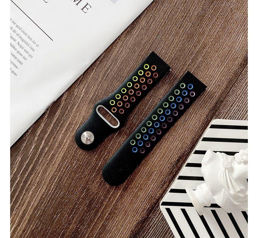 Strap-it® Samsung Galaxy Watch 4 - 44mm sport band (zwart/kleurrijk)