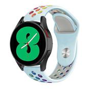 Strap-it® Samsung Galaxy Watch 4 - 44mm sport band (lichtblauw/kleurrijk)