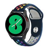 Strap-it® Samsung Galaxy Watch 4 - 44mm sport band (donkerblauw/kleurrijk)