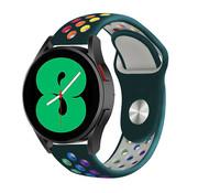 Strap-it® Samsung Galaxy Watch 4 - 44mm sport band (dennengroen/kleurrijk