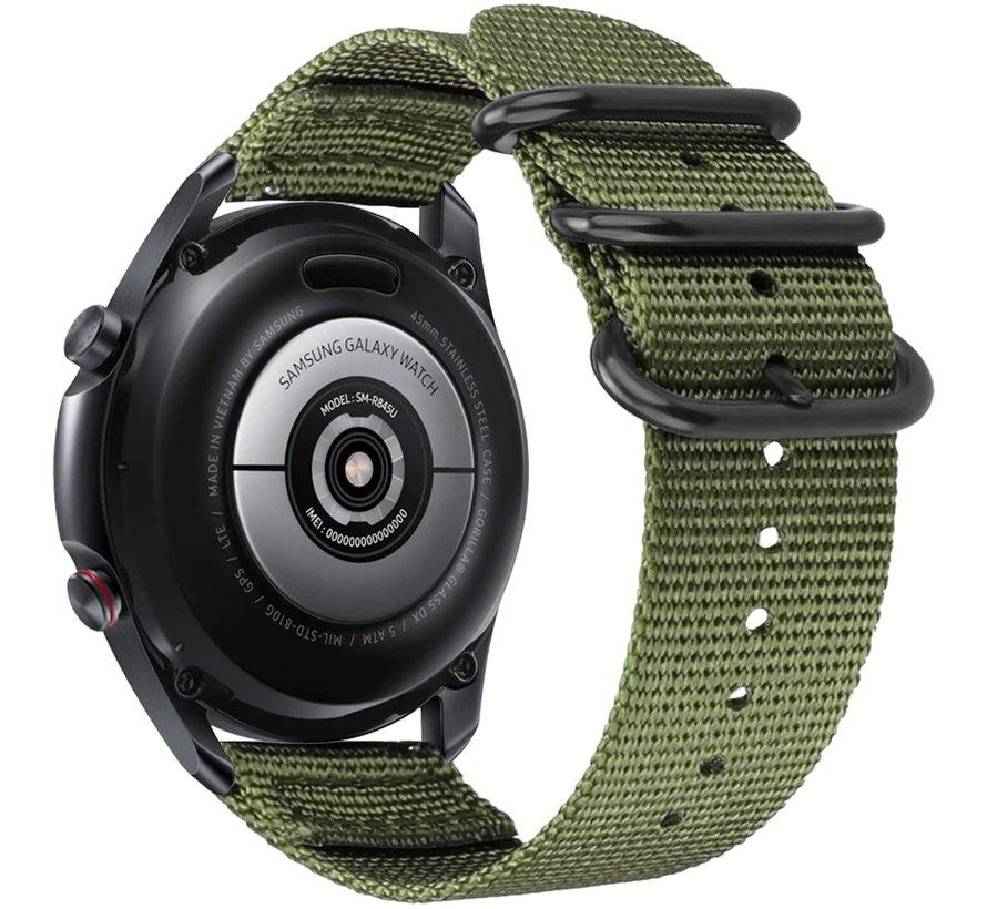 Strap-it® Samsung Galaxy Watch 4 Classic nylon gesp band (groen)
