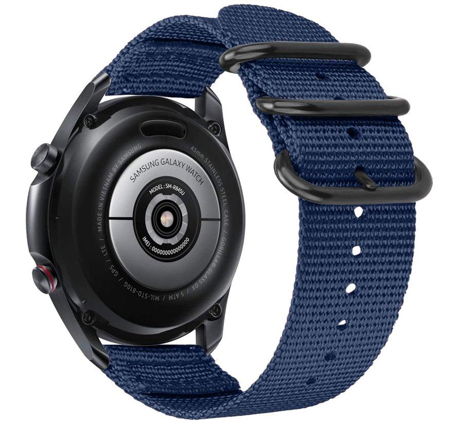 Strap-it® Samsung Galaxy Watch 4 Classic nylon gesp band (blauw)