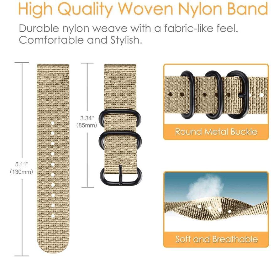 Strap-it® Samsung Galaxy Watch 4 Classic nylon gesp band (khaki)