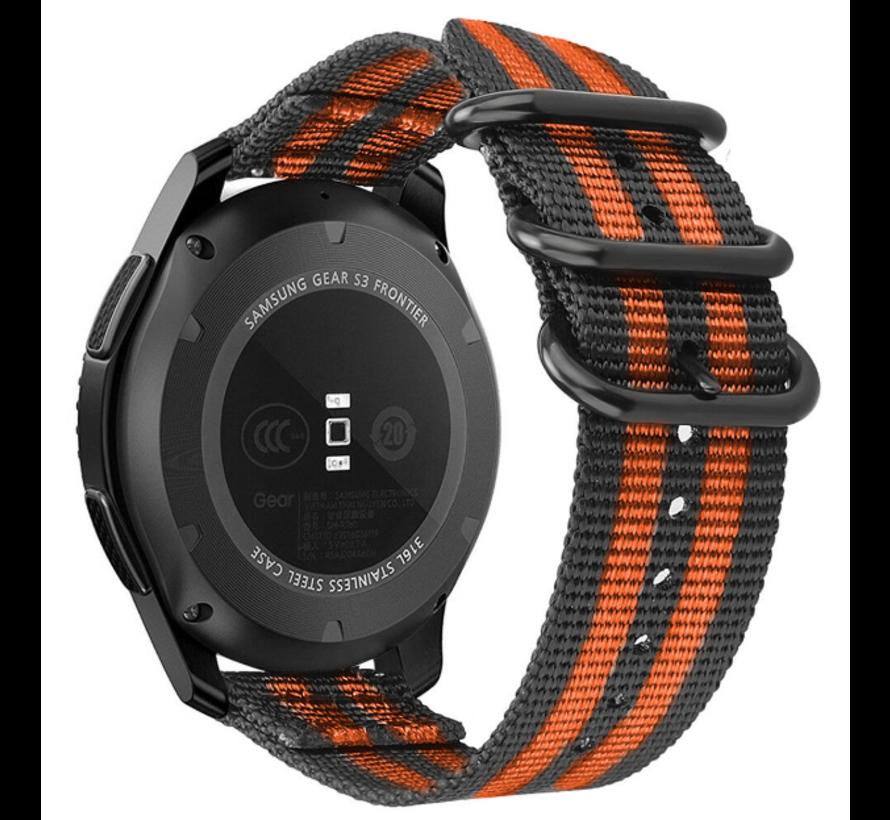 Strap-it® Samsung Galaxy Watch 4 Classic nylon gesp band (zwart/oranje)