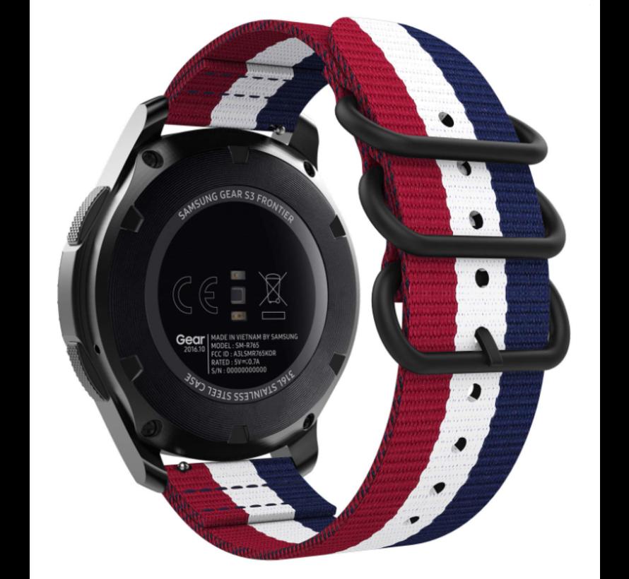 Strap-it® Samsung Galaxy Watch 4 Classic nylon gesp band (3-kleurig)