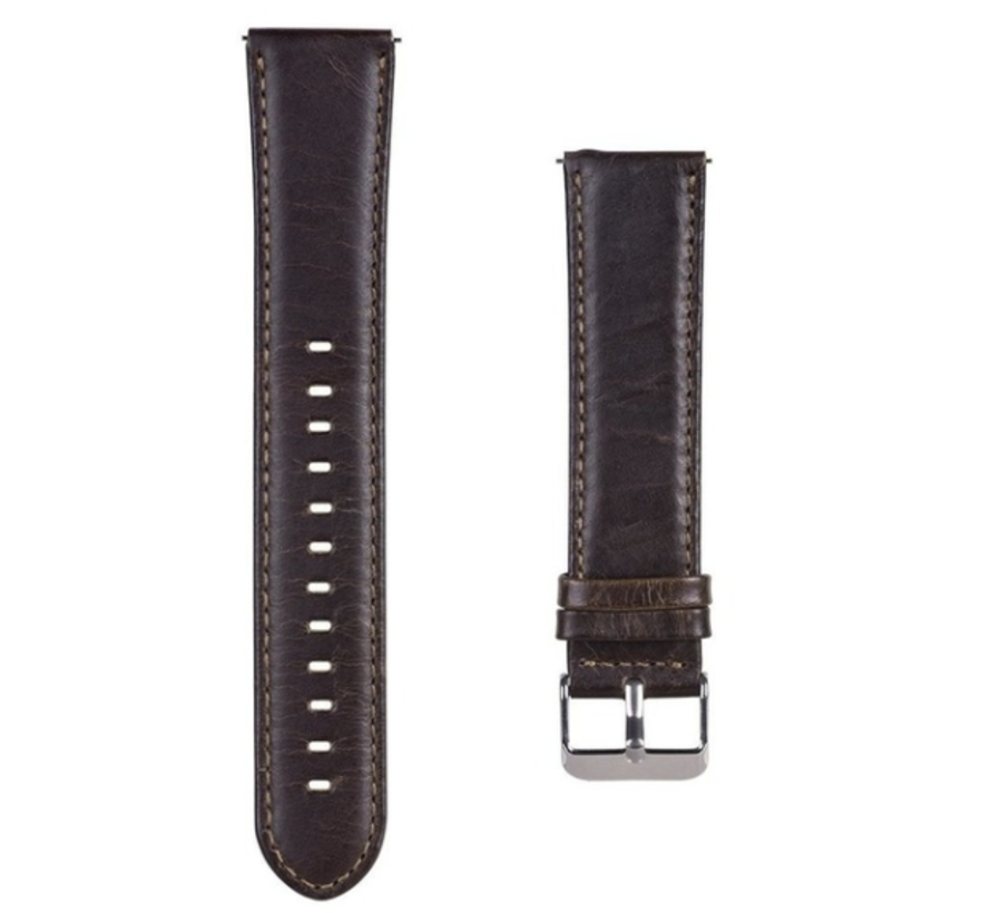 Strap-it® Samsung Galaxy Watch 4 Classic leren bandje (donkerbruin)