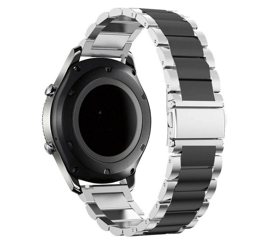 Strap-it® Samsung Galaxy Watch 4 Classic stalen band (zilver/zwart)