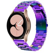 Strap-it® Samsung Galaxy Watch 4 stalen band (regenboog)