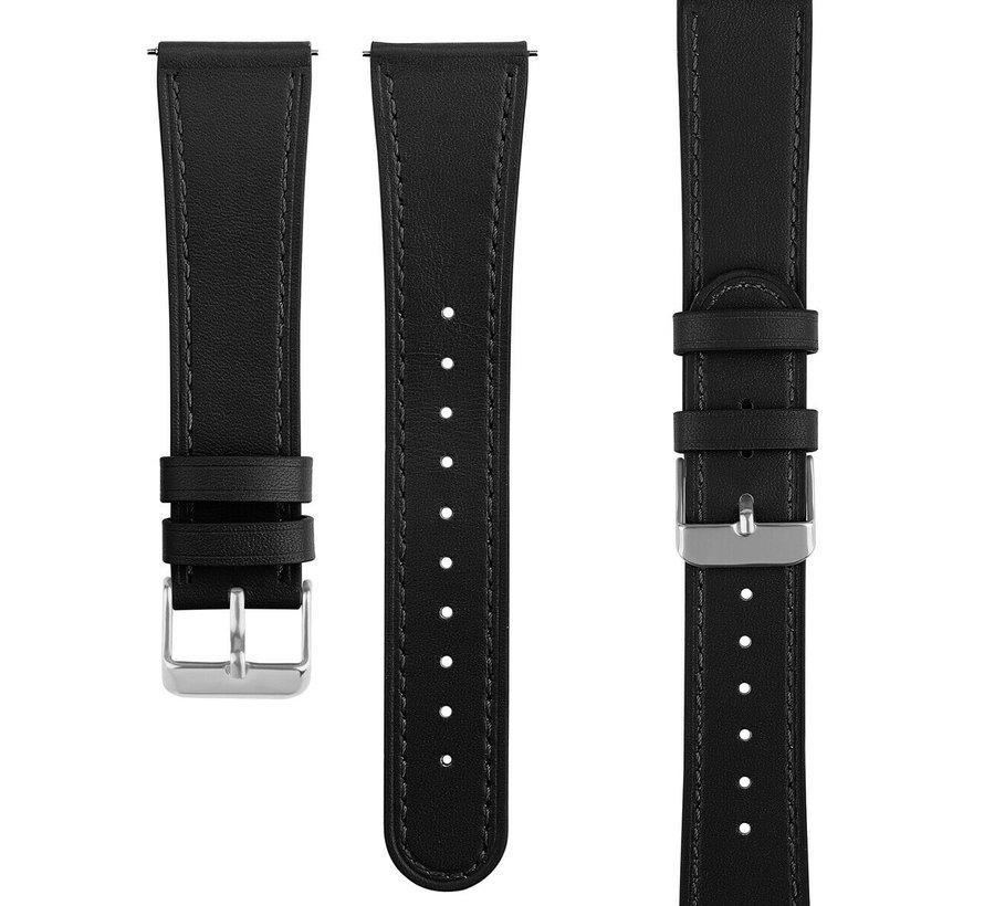 Strap-it® Samsung Galaxy Watch 4 Classic 46mm leren bandje (strak-zwart)