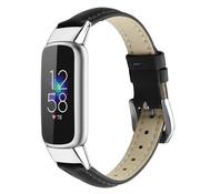 Strap-it® Fitbit Luxe leren bandje (zwart)