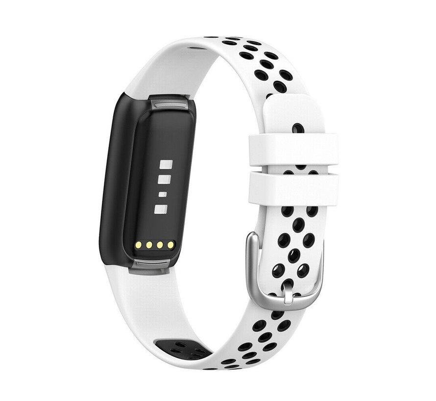 Strap-it® Fitbit Luxe sport band (wit/zwart)