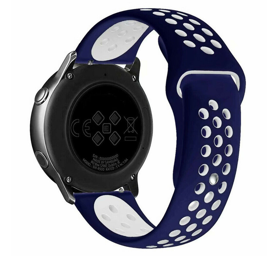 Strap-it® Samsung Galaxy Watch 4 Classic sport band (blauw/wit)
