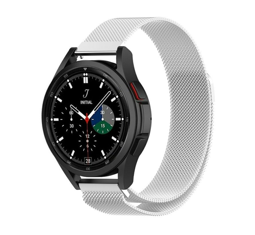 Strap-it® Samsung Galaxy Watch 4 Classic 46mm Milanese band (zilver)
