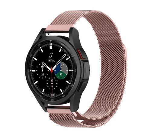 Strap-it® Strap-it® Samsung Galaxy Watch 4 Classic 46mm Milanese band (roze)