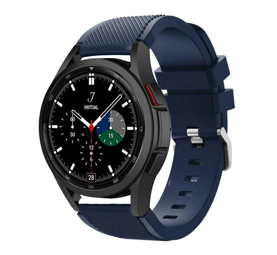 Strap-it Samsung Galaxy Watch 4 Classic 42mm siliconen bandje (donkerblauw)