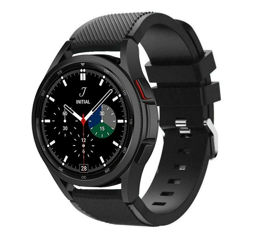 Strap-it Samsung Galaxy Watch 4 Classic 46mm siliconen bandje (zwart)