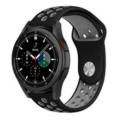 Strap-it® Samsung Galaxy Watch 4 Classic sport band (zwart/grijs)