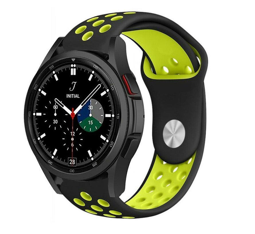 Strap-it® Samsung Galaxy Watch 4 Classic sport band (zwart/geel)