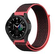 Strap-it® Samsung Galaxy Watch 4 Classic nylon band (zwart/rood)