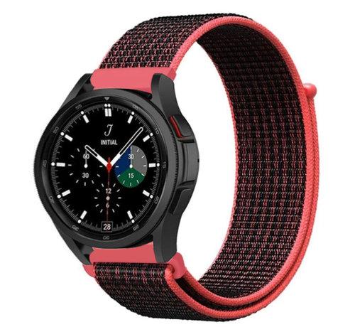 Strap-it® Strap-it® Samsung Galaxy Watch 4 Classic nylon band (zwart/rood)
