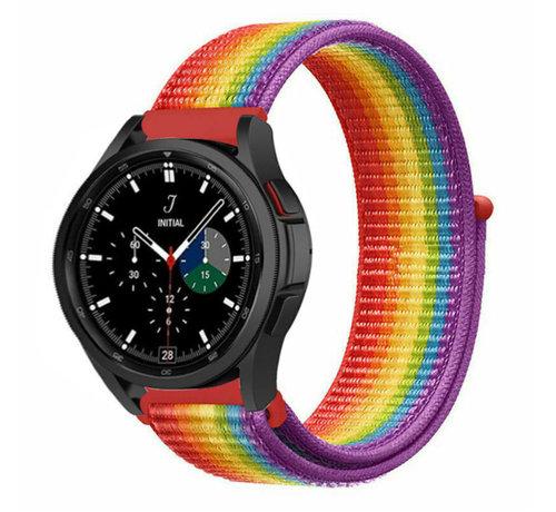 Strap-it® Strap-it® Samsung Galaxy Watch 4 Classic nylon band (regenboog)