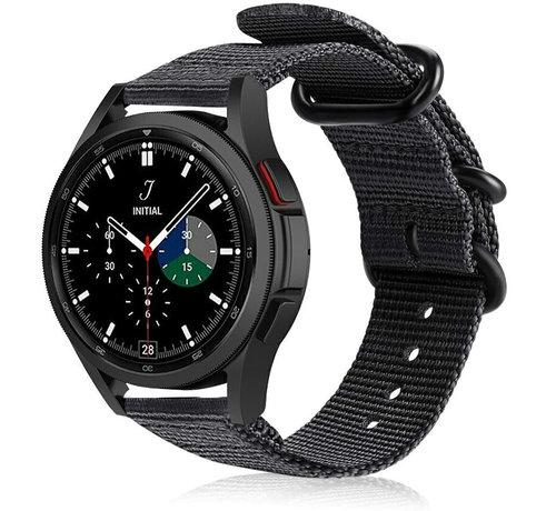 Strap-it® Strap-it® Samsung Galaxy Watch 4 Classic nylon gesp band (zwart)