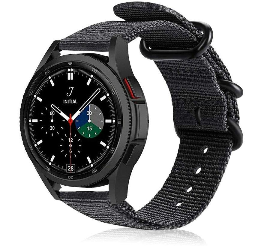 Strap-it® Samsung Galaxy Watch 4 Classic nylon gesp band (zwart)