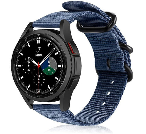 Strap-it® Strap-it® Samsung Galaxy Watch 4 Classic nylon gesp band (blauw)