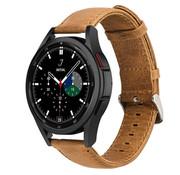 Strap-it® Samsung Galaxy Watch 4 Classic leren bandje (bruin)