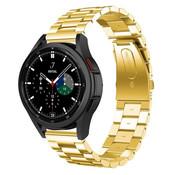 Strap-it® Samsung Galaxy Watch 4 Classic stalen band (goud)