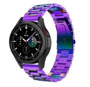 Strap-it® Samsung Galaxy Watch 4 Classic stalen band (regenboog)