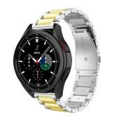Strap-it® Samsung Galaxy Watch 4 Classic stalen band (zilver/goud)