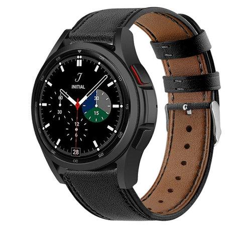 Strap-it® Strap-it® Samsung Galaxy Watch 4 Classic 42mm leren bandje (strak-zwart)